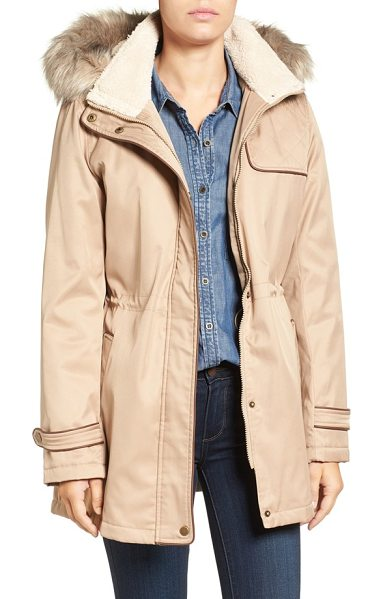Larry Levine faux shearling & faux fur trim water repellent parka with detachable hood in khaki - Warmed with fluffy faux shearling inside the stand...