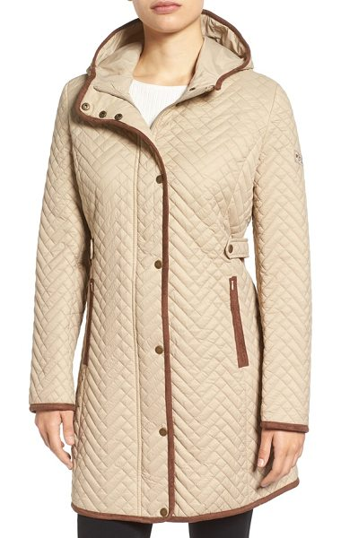 Larry Levine quilted hooded coat with faux suede trim in khaki - Town meets country in this smart hooded coat, fitted...