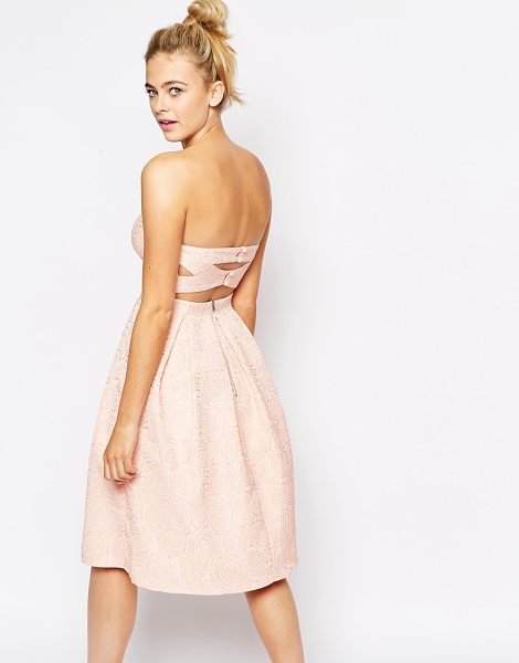 LASHES OF LONDON Bandeau Full Midi Dress With Cut Out Back - Midi dress by Lashes of London, Lined, rose textured...
