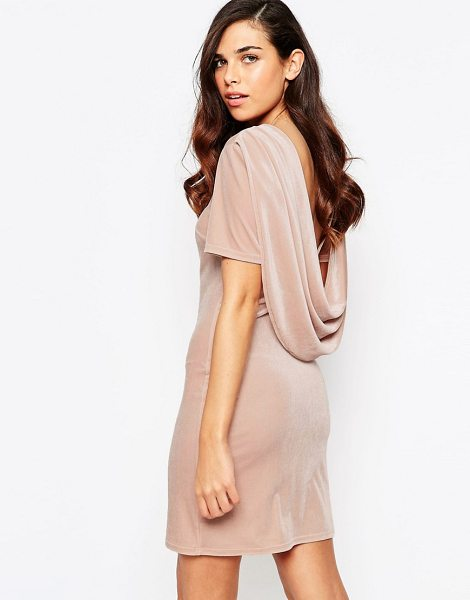 Lashes Of London Lashes Of London Ellie Velvet Cowl Back Dress in pink - Evening dress by Lashes of London, Stretch velvet, Round...