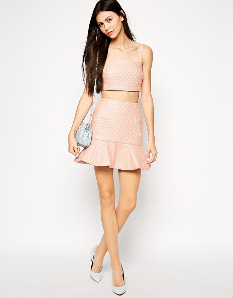 Lashes Of London Heart quilted peplum hem skirt in pink - Skirt by Lashes of London Leather look fabric Stitched...
