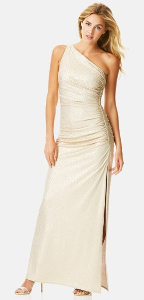Laundry by Shelli Segal beaded jacquard one-shoulder gown in gold - Sparkling beads accent the ruched side of a head-turning...