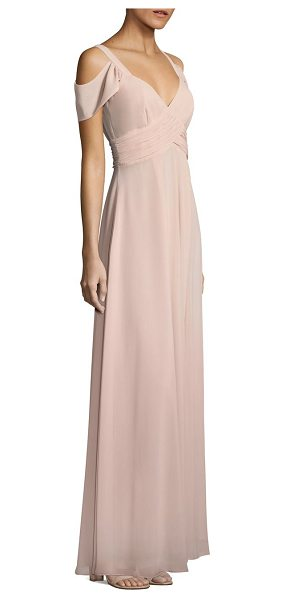 Laundry by Shelli Segal cold-shoulder shirred gown in tinted blush - Elegant gown enhanced with shirred accents.V-neck. Short...