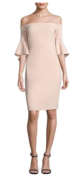 Laundry by Shelli Segal off-the-shoulder bell sleeve dress in tintedblush - Chic shoulder-baring sheath finished with fluttery bell...
