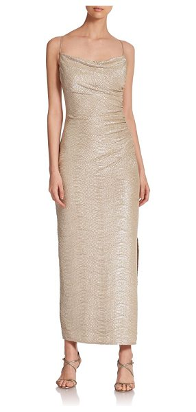 Laundry by Shelli Segal Crinkle foil gown in gold-silver - A sleek, minimalist design accented with shirring for an...