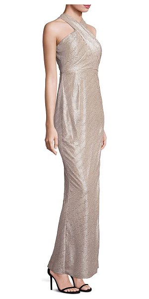 Laundry by Shelli Segal metallic halter gown in gold silver - Chic cross-front gown with twisted cutout back....
