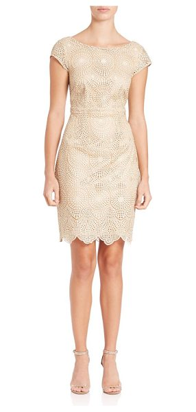 Laundry by Shelli Segal cutout lace cocktail dress in gold - Lace cocktail dress freshened with cutout back....