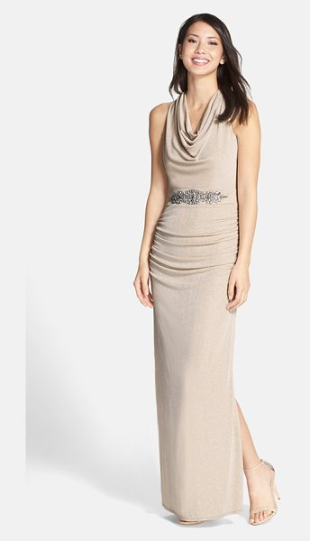 Laundry by Shelli Segal embellished drape glitter column gown in taupe - Glittering rhinestones cluster at the waist of a long,...