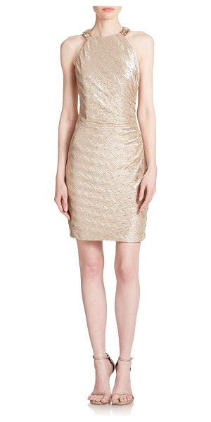 Laundry by Shelli Segal Embellished metallic jersey dress in gold - A sparkling halter neckline highlights the glamorous...