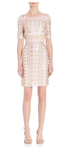 Laundry by Shelli Segal geometric sequin embellished dress in gold - Dazzling dress in allover sequins and geometric pattern....