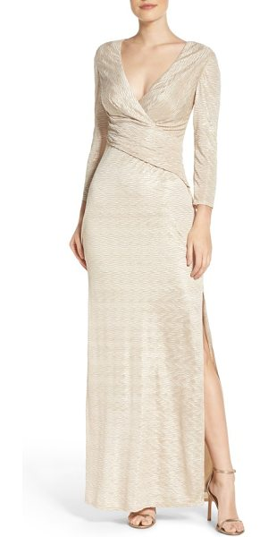 Laundry by Shelli Segal metallic gown in gold - Slimming gathers hug and enhance curves in this...