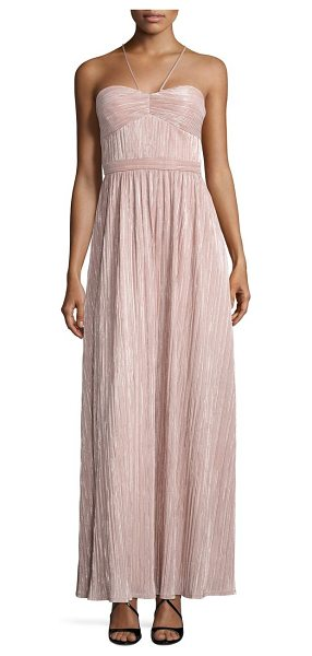Laundry by Shelli Segal metallic pleated halter gown in pink nectar - Micro-pleats shape shimmering A-line gown. Halterneck....