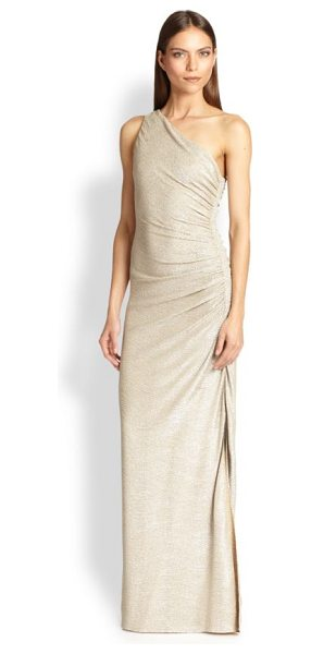 Laundry by Shelli Segal one-shoulder gown in gold silver - Floor-length gown finished with metallic knit design....
