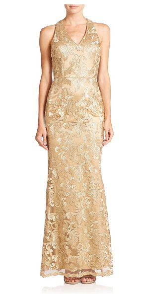 Laundry by Shelli Segal Platinum amulet embroidered mesh floor-length gown in gold - An intricately embroidered mesh overlay defines the...