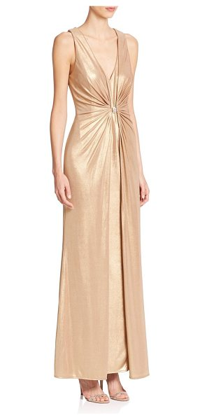 Laundry by Shelli Segal Platinum foxtrot foiled knit gown in gold - A shirred bodice accentuates the figure-flattering...