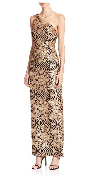 LAUNDRY BY SHELLI SEGAL Platinum sequined one-shoulder gown - A geometric pattern of shimmering sequins updates this...