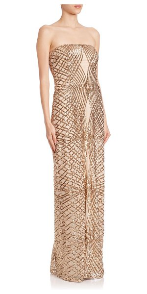 LAUNDRY BY SHELLI SEGAL Platinum strapless sequined gown - EXCLUSIVELY AT SAKS FIFTH AVENUEStructured gown in...