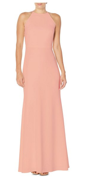 Laundry by Shelli Segal ruffle-back floor-length gown in peach - Alluring ruffles at back defines this flowy gown....