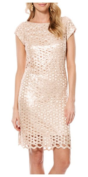 Laundry by Shelli Segal sequin geo cutout dress in cream tan - Intertwined cutouts add intriguing dimension to a...