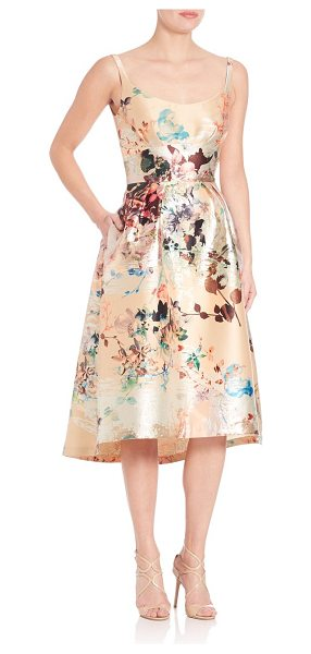 LAUNDRY BY SHELLI SEGAL platinum sleeveless floral dress - Lustrous florals shine in a ladylike silhouette....