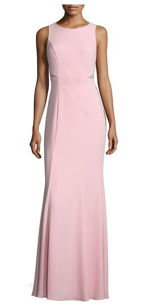 "Laundry by Shelli Segal Sleeveless Mesh-Inset Mermaid Gown in coral blush - Laundry by Shelli Segal crepe gown. Approx. 60""L from..."