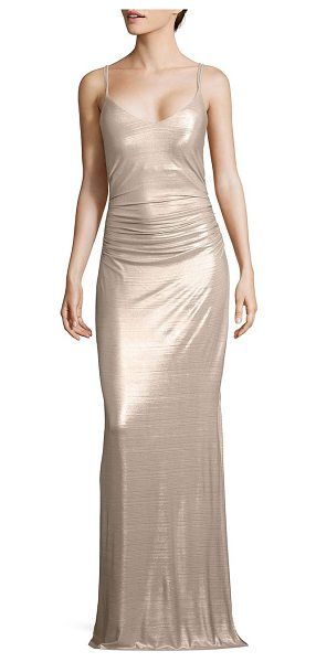 LAUNDRY BY SHELLI SEGAL metallic ruched gown - Metallic knit gown with multiple straps at back.V-neck....