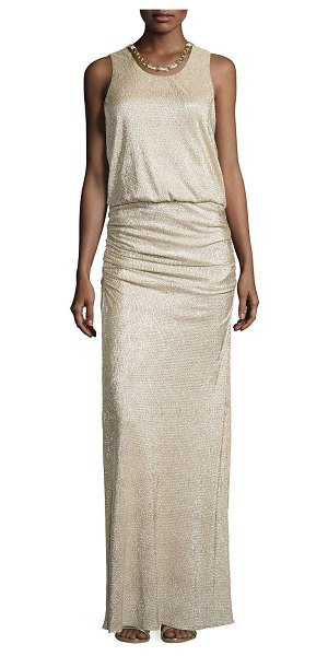 Laundry by Shelli Segal Woven-chain neckline metallic gown in gold/silver