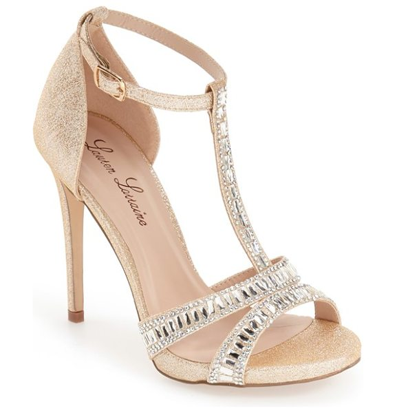 LAUREN LORRAINE anna t-strap sandal - Dazzling crystals highlight a glittery T-strap sandal...