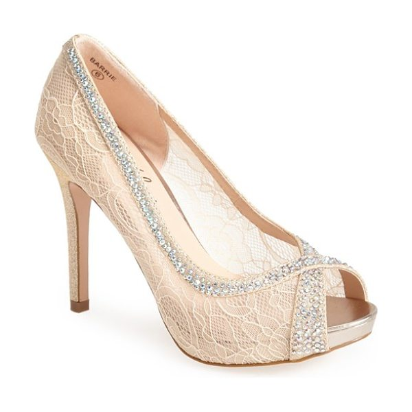 Lauren Lorraine barrie crystal embellished lace pump in nude lace - An ultra-girly peep-toe pump gets prettied up in sheer...