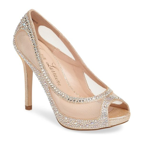 LAUREN LORRAINE bernice peep toe crystal embellished pump in nude - Ribbons of sparkling crystals curl and dance on fields...