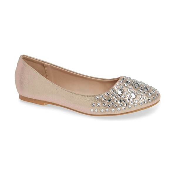 Lauren Lorraine bobbie flat in beige - Faceted crystals shimmer at the toe of this stunning...