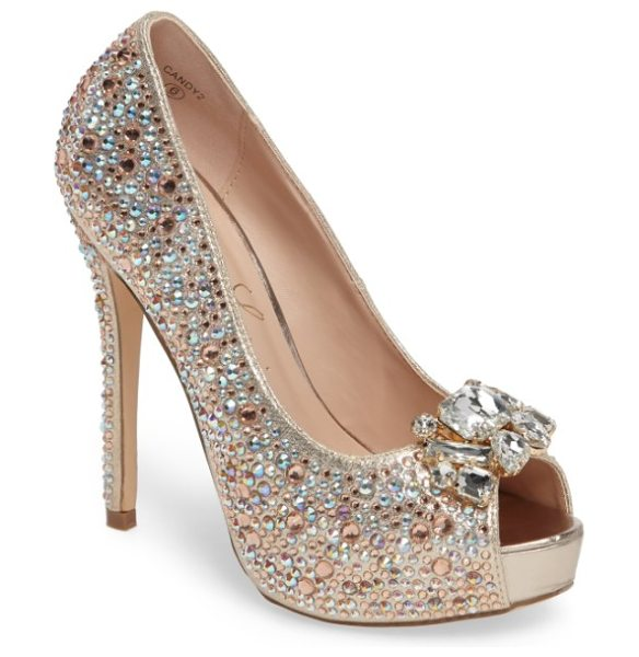 Lauren Lorraine candy 2 embellished platform pump in rose gold - Multi-size crystals bring sparkle and dimension to a...