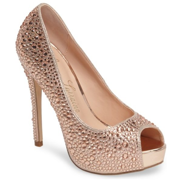 Lauren Lorraine 'candy' crystal peep toe pump in rose gold - Eye-catching rhinestones add unmistakable glamour to a...