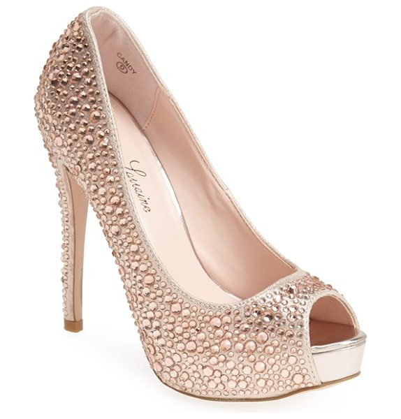 Lauren Lorraine candy crystal peep toe pump in nude - Eye-catching rhinestones add unmistakable glamour to a...