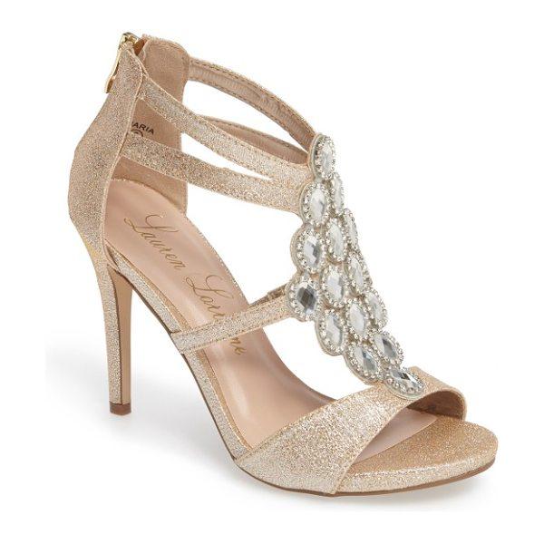 Lauren Lorraine crystal embellished strappy sandal in nude fabric - Faceted crystals set in a diamond shape sparkle and...