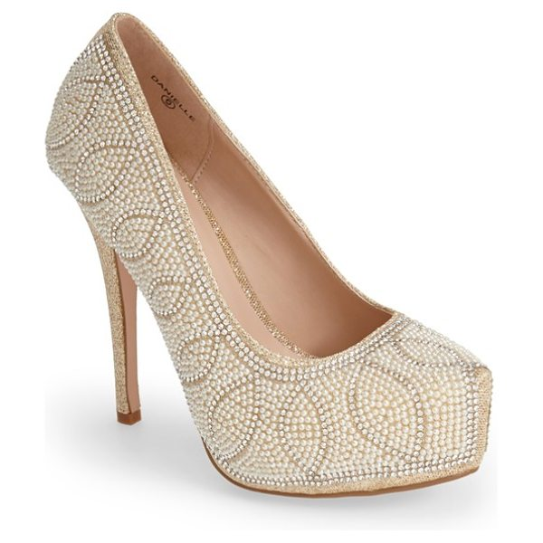 Lauren Lorraine danielle embellished platform pump in nude pearl - Pearly beads highlight the sparkling crystal swirls...