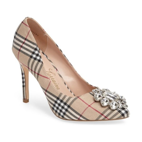 Lauren Lorraine giselle embellished plaid pump in nude fabric - A stunning crystal brooch sparkles brightly from the...