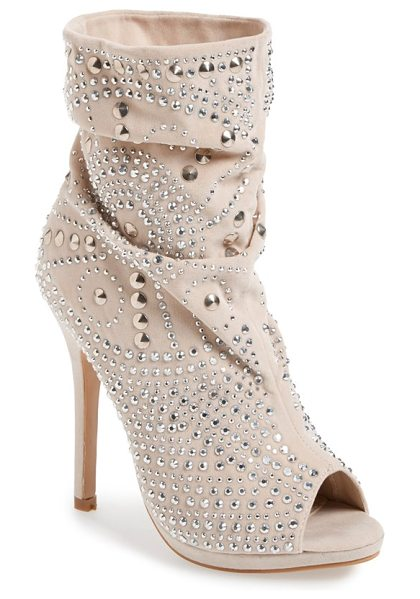 Lauren Lorraine lolita studded bootie in beige - Flashy crystals and cone studs lend unmistakable drama...