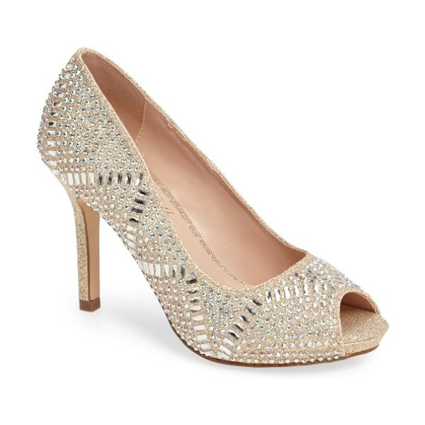 LAUREN LORRAINE paula embellished peep toe pump in nude fabric - Multifaceted studs add signature sparkle to a gorgeous...