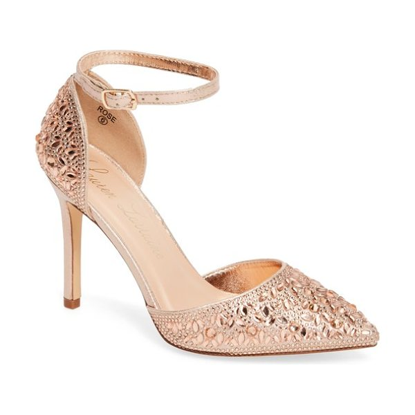 LAUREN LORRAINE rose crystal embellished d'orsay pump - Tonal crystals set in flowery patterns sparkle against...