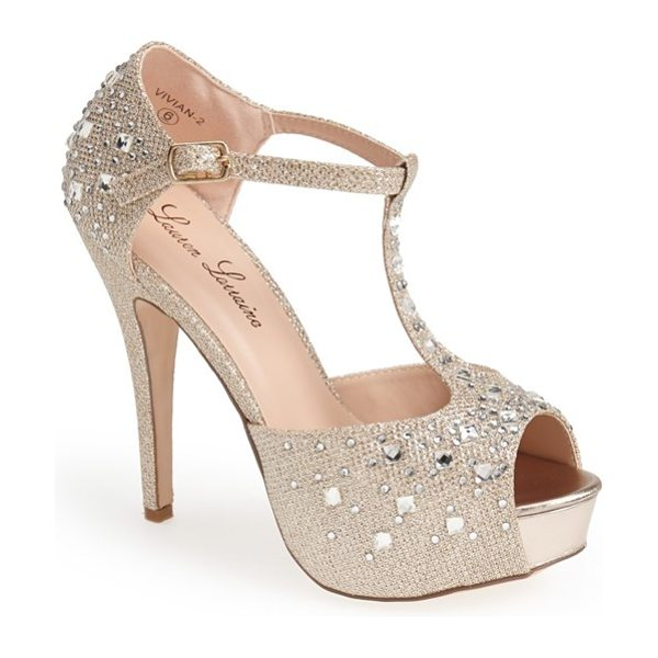 Lauren Lorraine vivian crystal platform pump in nude - You won't lack for razzle-dazzle in these scene-stealing...