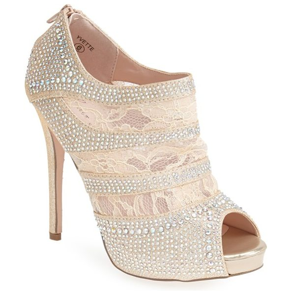 Lauren Lorraine yvette lace platform bootie in nude lace satin - Intricate, sparkling rhinestones and airy lace style an...