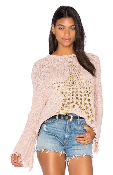 Lauren Moshi Esme Fringe Bell Sleeve Sweater in blush - 41% cotton 40% rayon 17% poly 2% spandex. Dry clean...