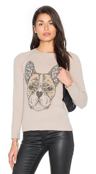 Lauren Moshi North Cashmere Sweater in beige - 100% cashmere. Dry clean recommended. Front graphic...
