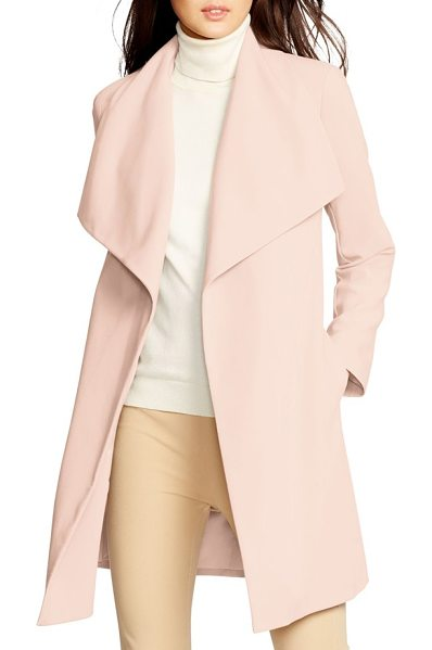 Lauren Ralph Lauren belted drape front coat in blush - A shoulder-spanning collar caps off the chic and easy...