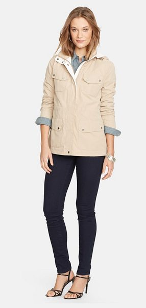 Lauren Ralph Lauren contrast trim anorak with detachable hood in khaki/ pearl - A sporty anorak styled with a convertible stand collar...