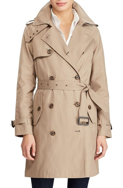 Lauren Ralph Lauren cotton blend a-line trench coat in sand - Classic trench styling brings timeless appeal and...