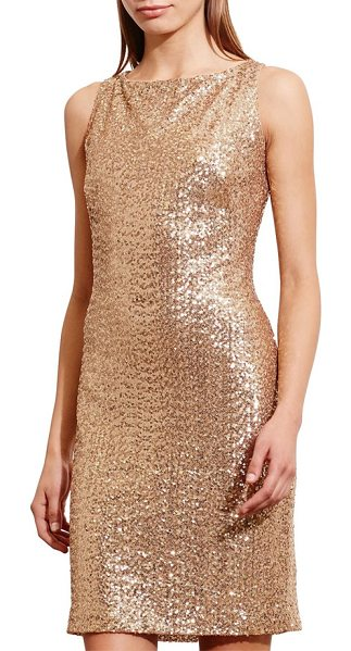 Lauren Ralph Lauren cutout back sequin sheath dress in bond gold - The sleek, demure front balances the alluring cutout...