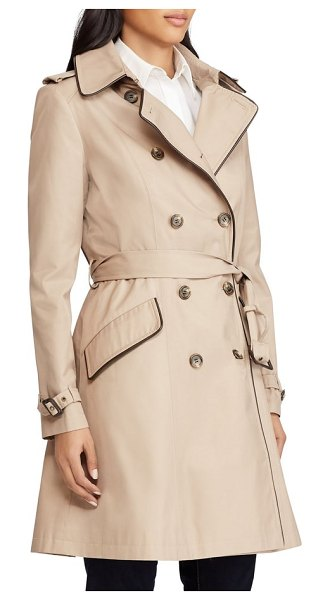 Lauren Ralph Lauren double breasted short trench coat in sand - Faux-leather trim and a double-breasted design put a...