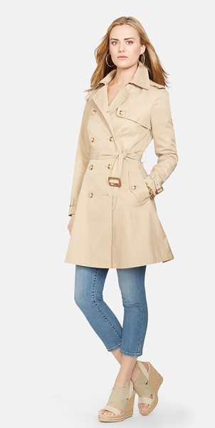 Lauren Ralph Lauren double breasted skirted trench coat in racing khaki - A spring trench in a flattering fit-and-flare silhouette...